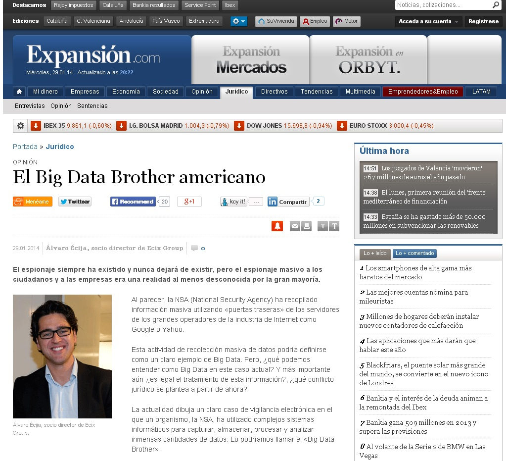 Big Data Brother Americano Álvaro Écija